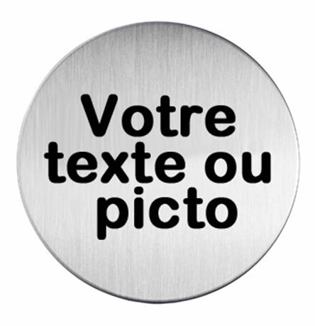 Plaque symbole acier bross picto rond personnalis direct signal tique - Panneau signaletique personnalise ...