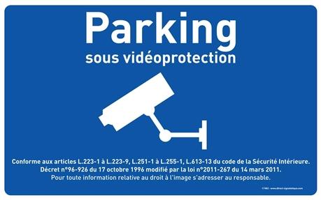 panneau parking sous surveillance vid o fond bleu h 250 x l 400 mm direct signal tique. Black Bedroom Furniture Sets. Home Design Ideas