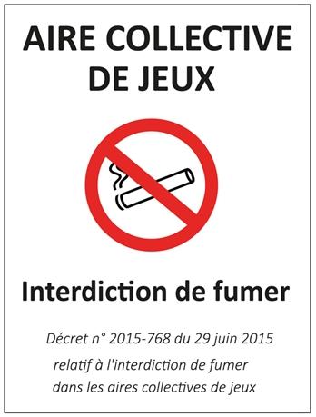 Panneau Interdiction De Fumer Aire De Jeux