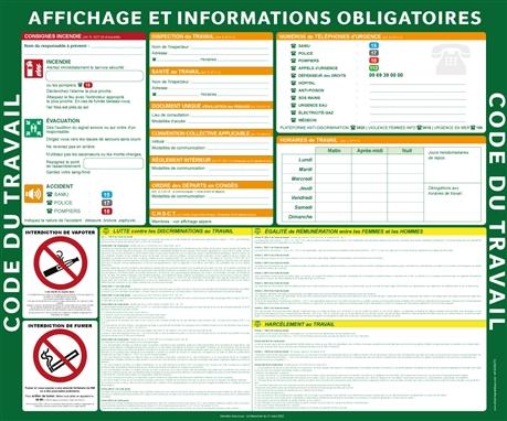 Affiche Obligatoire Code Du Travail 2017 Direct Signaletique