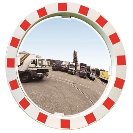 Miroir d industrie avec cadre rouge et blanc hachur 2 for Miroir industrie