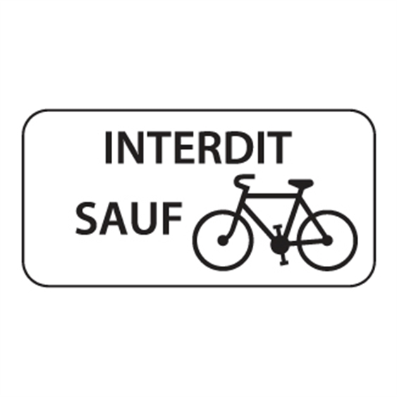 Panonceau Interdit Sauf vélos - M9v1 pour panneau d´interdiction type B