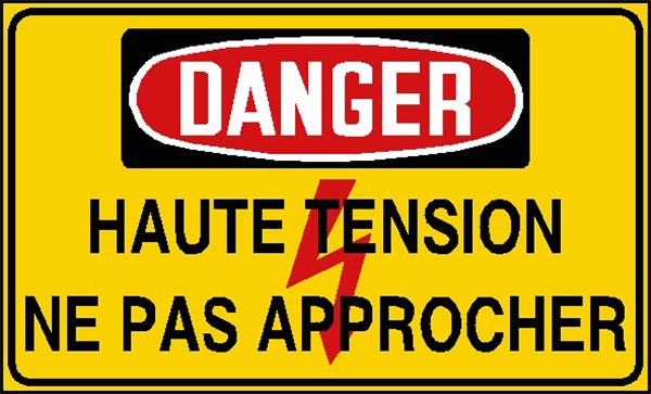 Danger haute tension ne pas approcher stf 2439s direct for Haute tension mots fleches