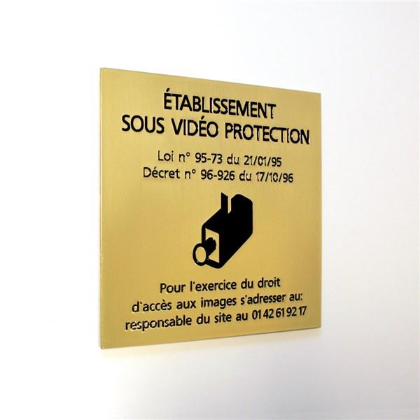 plaque en laiton etablissement sous vid o protection direct signal tique. Black Bedroom Furniture Sets. Home Design Ideas