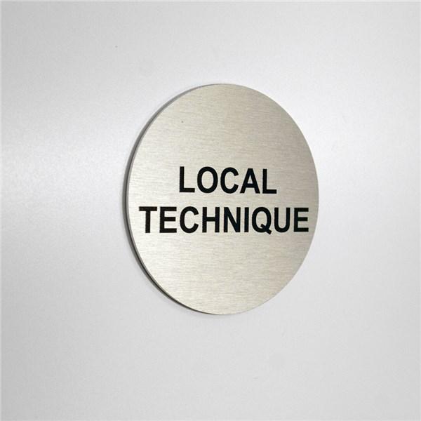 plaque symbole acier bross texte local technique direct signal tique. Black Bedroom Furniture Sets. Home Design Ideas