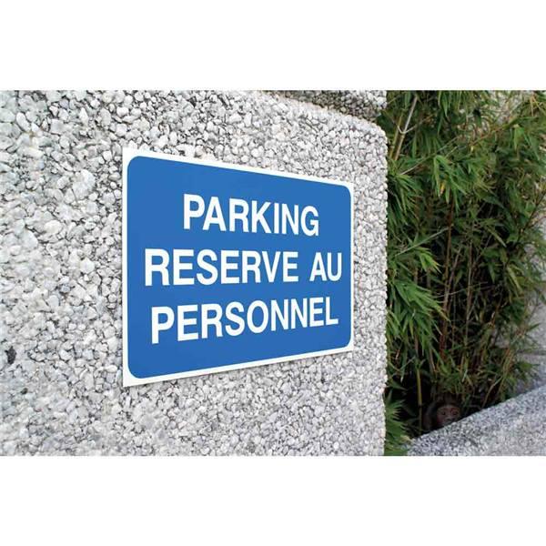 panneau parking r serv au personnel fond bleu h 250 x l 400 mm direct signal tique. Black Bedroom Furniture Sets. Home Design Ideas