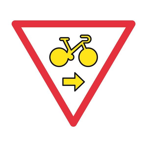 Panneau tourne droite autorisant cyclistes franchir les feux m12a direct signal tique - Panneau de signalisation personnalise ...