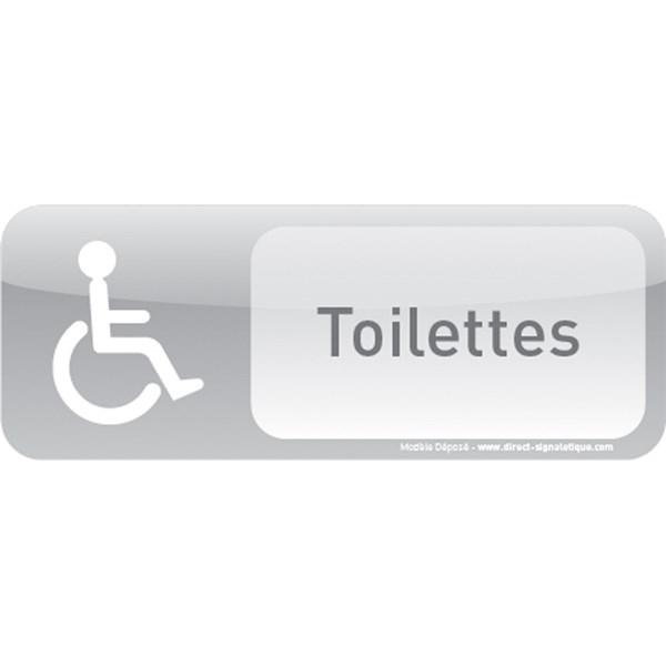 Plaque de porte toilettes handicap text icone direct for Porte wc handicape