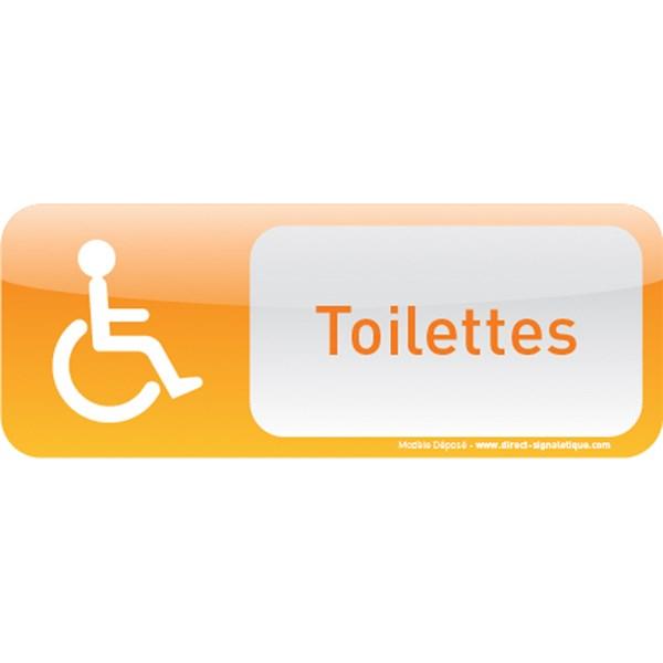 Plaque de porte toilettes handicap text icone direct for Porte handicape