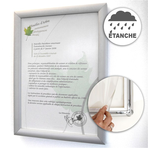 Cadre clic alu tanche waterproof direct signal tique - Cadre photo plexiglas a4 ...