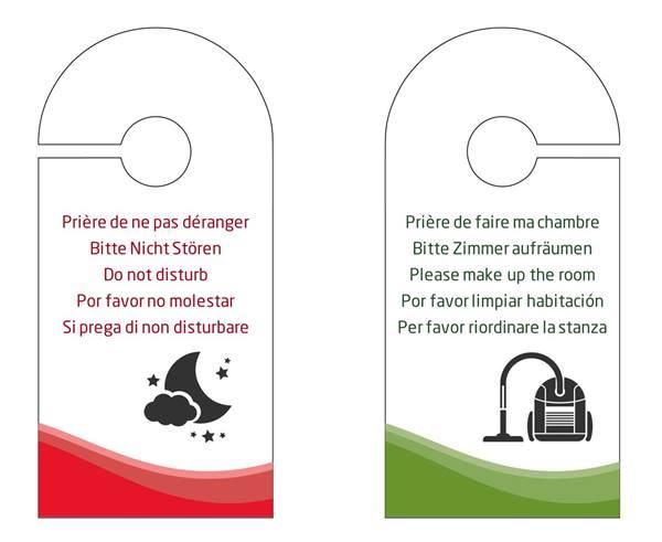 accroche porte cartonn multi langues h tel direct signal tique. Black Bedroom Furniture Sets. Home Design Ideas