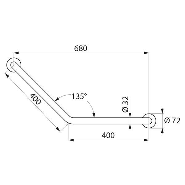 barre de rel vement 135 pmr inox direct signal tique. Black Bedroom Furniture Sets. Home Design Ideas