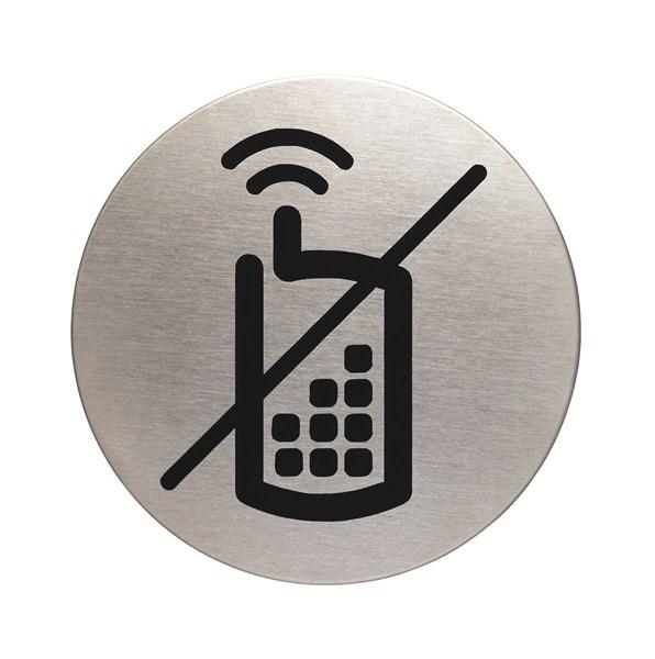 plaque symbole t u00e9l u00e9phones portables interdits - alu bross u00e9 -  u00d8 83 mm