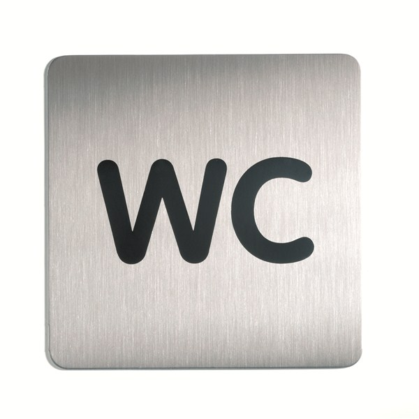 Plaque symbole wc inox bross 150 x 150 mm direct for Plaque de porte wc et salle de bain
