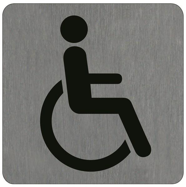 Plaque de porte alu bross handicap direct signal tique for Porte handicape