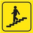 Picto gravé Escalier descendant - 100 x 100 mm - Gamme Couleur
