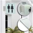 Drapeau avec picto verre trempé recto/verso - Toilettes Hommes/Femmes - 200 x 200 mm - Gamme Glass