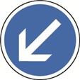 Panneau Temporaire Obligation de tourner à gauche sur Pied solidaire - BK21a2
