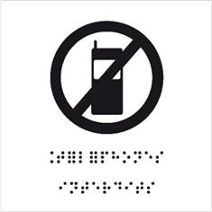 Plaque de porte picto relief - Téléphones portables interdits - 120 x 120 mm