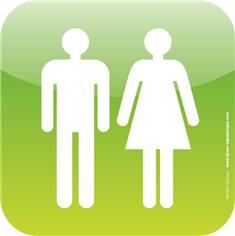 Plaque de porte Icone® - Toilettes Hommes Femmes