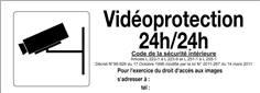 Panneau Vidéoprotection 24h/24 -  H 120 x L 330 mm