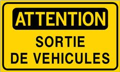 Attention Sortie de véhicules - STF 3525S