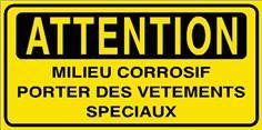 Panneau Milieu corrosif portez des vêtements spéciaux - STF 2809S