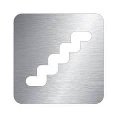 Pictogramme escalier découpé en aluminium brossé - 100 x 100 mm