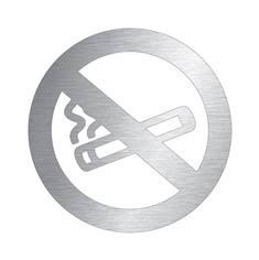 Pictogramme Interdiction de fumer découpé en aluminium  brossé - Ø 100 mm