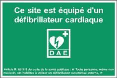 Site équipé d´un défibrillateur - Modèle 1 de l´Arrêté du 29 ocotbre 2019 - STF 2038S