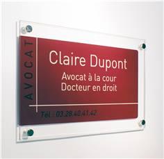 Plaque en plexiglas pour professions libérales - transparence moderne - H 210 x L 300 mm