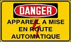 Danger appareil à mise en route automatique - STF 2436S