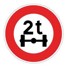 Panneau Limitation de poids par essieu - B13a