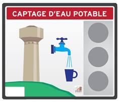Panneau Captage d'eau potable - PVC 10 mm - H 252 x L 300 mm