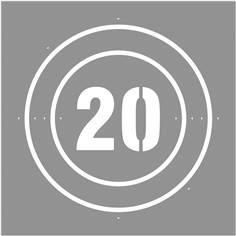 Pochoir Vitesse limitée à  20 km/h - 600 x 600 mm