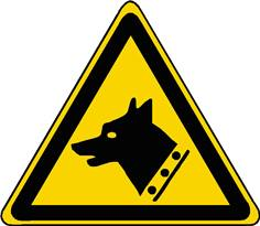 Panneau danger chien de garde ISO 7010 - W013