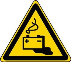 Panneau danger charge en cours de la batterie ISO 7010 - W026