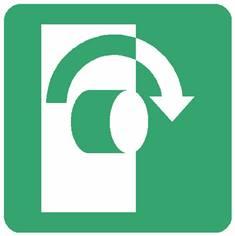 Panneau tourner dans le sens des aiguilles d´une montre pour ouvrir ISO 7010 - E019