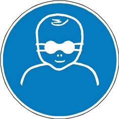 Signalétique protection opaque des yeux obligatoire pour les enfants en bas âge ISO 7010 - M025