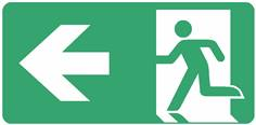 Panneau Evacuation sortie à gauche ISO 7010 - STF 4022S