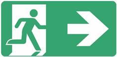 Panneau Evacuation sortie à droite ISO 7010 - STF 4026S