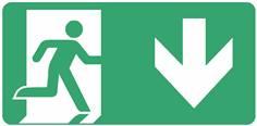 Panneau Evacuation sortie vers le bas ISO 7010 - STF 4028S