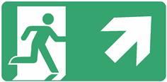 Panneau Evacuation sortie en haut à droite ISO 7010 - STF 4030S