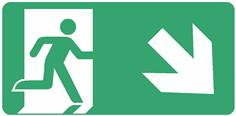 Panneau Evacuation sortie en bas à droite ISO 7010 - STF 4032S