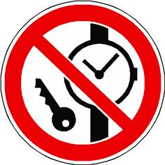 Panneau articles métalliques ou montres interdits ISO 7010 - P008