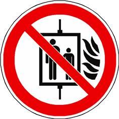 Panneau interdiction d´utiliser l´ascenseur en cas d´incendie ISO 7010 - P020