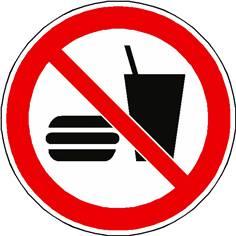 Panneau interdiction de manger ou boire ISO 7010 - P022
