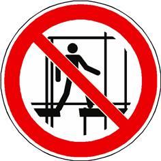 Panneau interdiction d´utiliser un échafaudage incomplet ISO 7010 - P025
