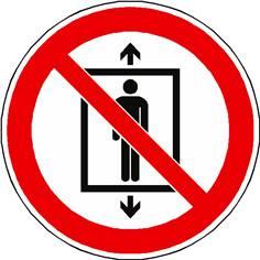 Panneau interdiction d´utiliser cet ascenseur pour des personnes ISO 7010 - P027