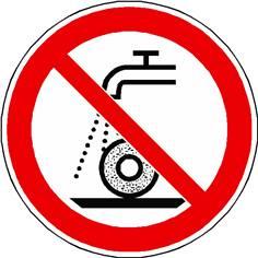 Panneau interdiction d´utiliser pour la rectification humide ISO 7010 - P033